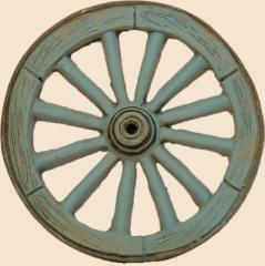 roue de charrette bleue