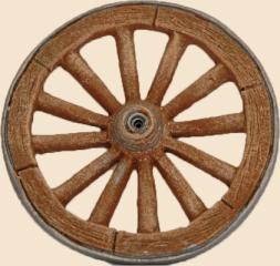 roue de charrette marron